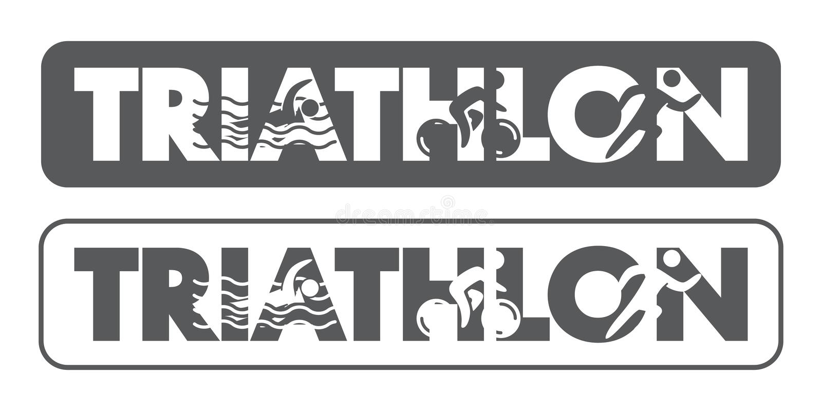 Triathlon logo and icon. Swimming, cycling, running symbols stock images