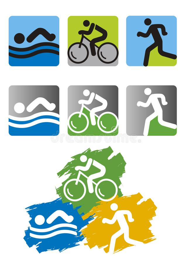 Triathlon race icons. stock illustration