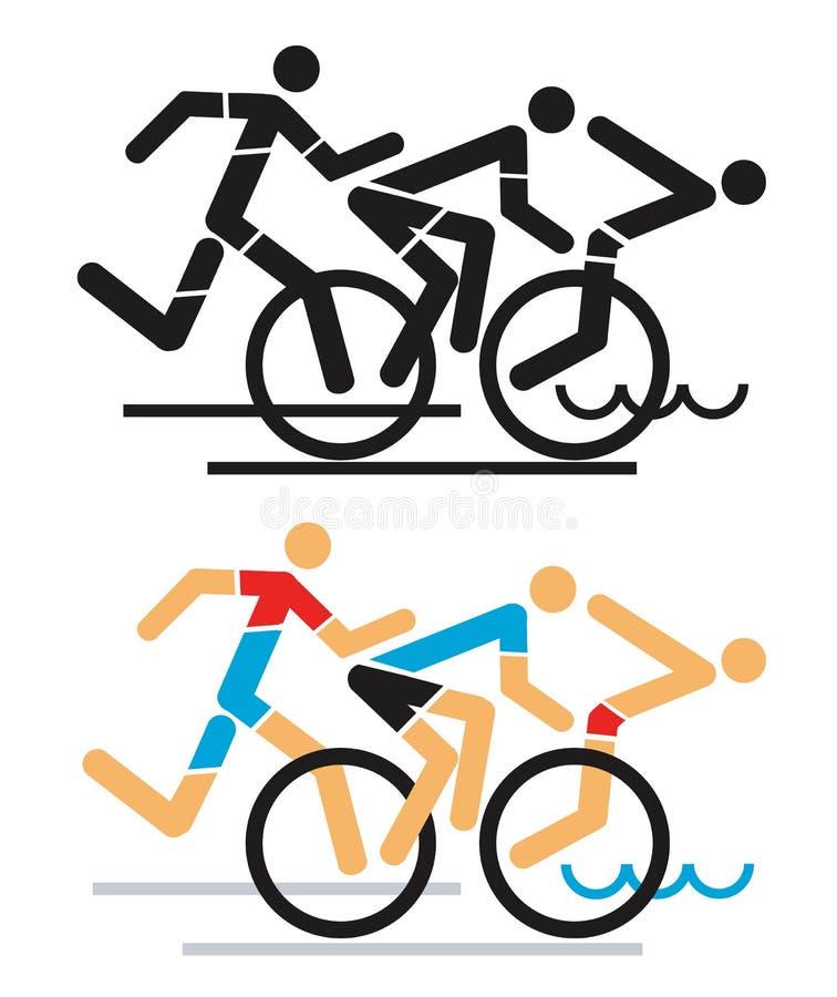 Triathlon race icons. royalty free illustration