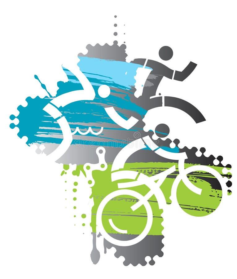 Triathlon race Iron Man. royalty free illustration