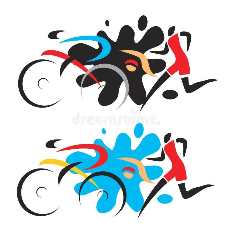 Triathlon race. stock illustration