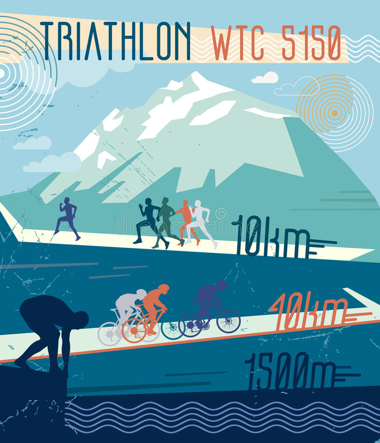 Triathlon retro del ejemplo del vector libre illustration