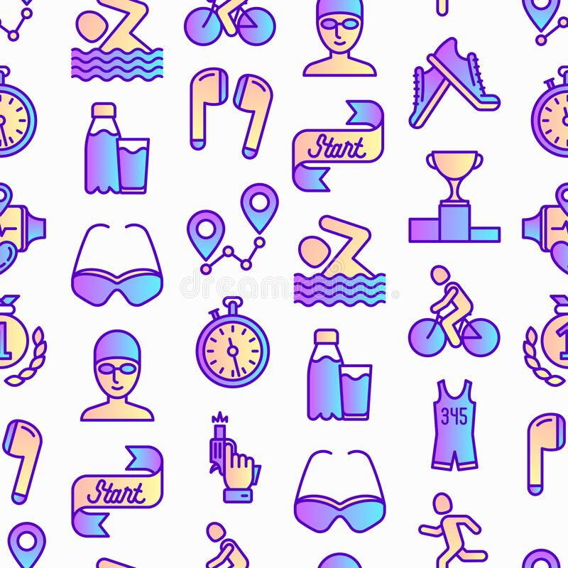 Free Triathlon Seamless Pattern With Thin Line Icons: Runner, Swimmer, Cycling Race, Stopwatch, Starting, Gun, Sport Glasses, Start, Royalty Free Stock Image - 195819706