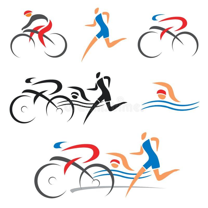 Triathlon som cyklar konditionsymboler royaltyfri illustrationer