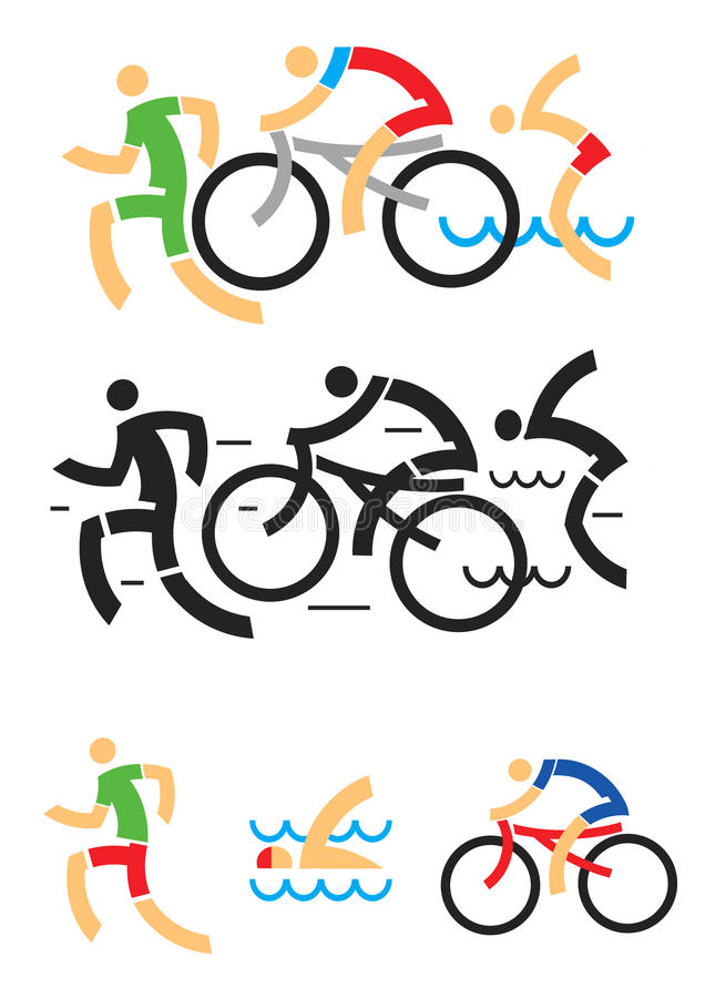 Triathlon som cyklar simningsymboler stock illustrationer