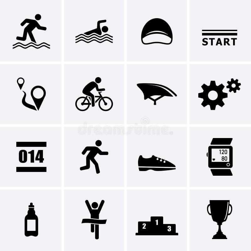 Triathlon Sport Icons. Vector set for web royalty free illustration