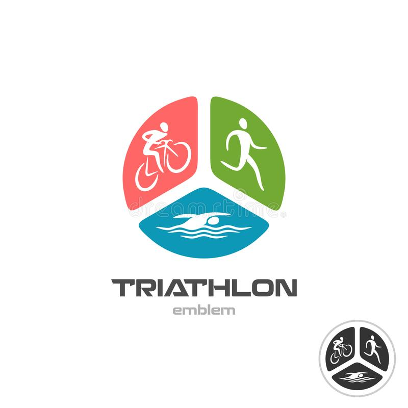 Triathlon sport logo. Cyclist, running and swimming man silhouettes stock illustration