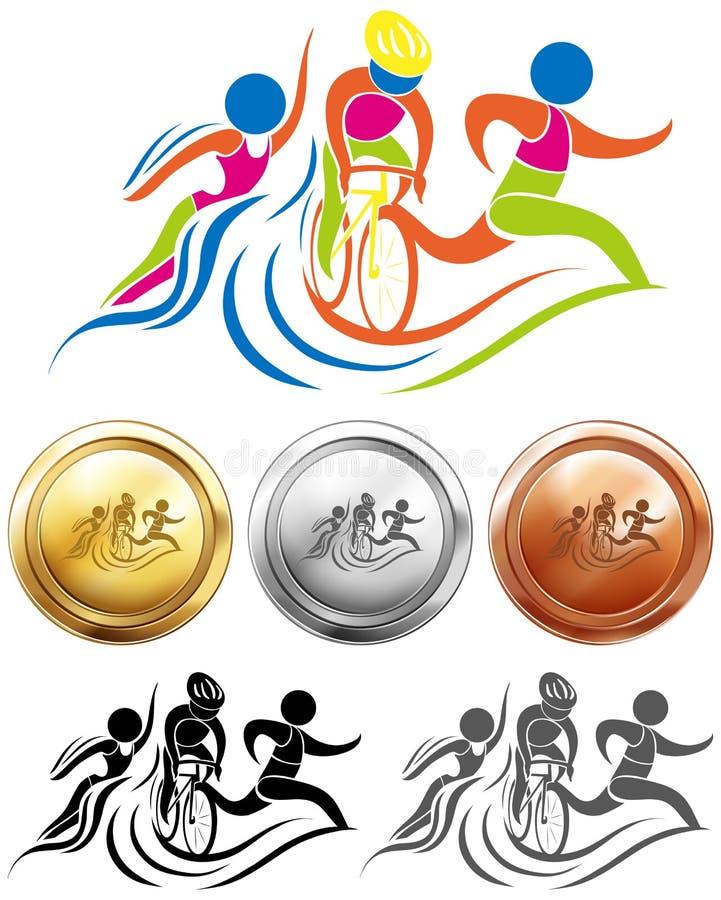 Triathlon sporta i ikony medale royalty ilustracja