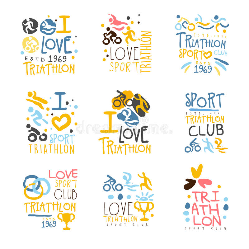 Triathlon Supporters And Fans Club For People That Love Sport Set Of Colorful Promo Sign Design Templates. Bright Color Promotional Vector Labels With Text vector illustration