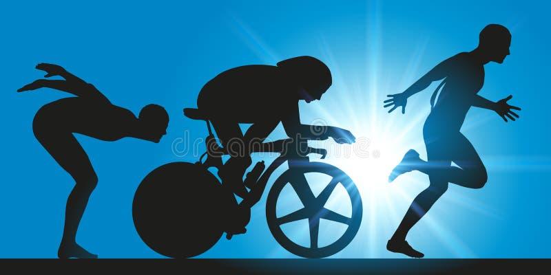 Triathlon tre extrema sportdiscipliner stock illustrationer