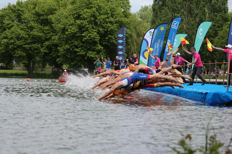 Triathlon triathletes sport healthy exercise swimming. Triathletes dive into the water from a pontoon at the start of the swim leg at the European Triathlon stock photography
