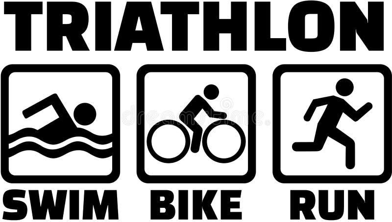 Triathlon ustawiający z piktogram ikonami royalty ilustracja