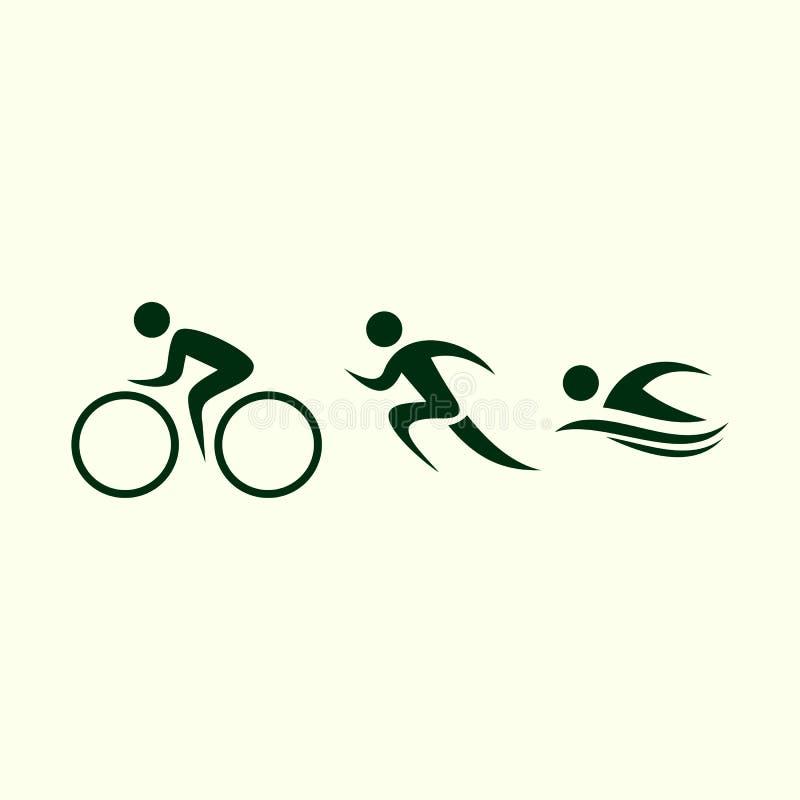 Triathlonaktivitetssymboler - simning, spring, cykel royaltyfri illustrationer