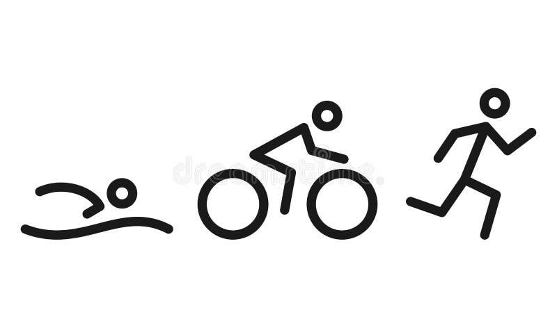 Triathlonaktivitetssymboler - simning, spring, cykel Simma och att cykla och symboler för utomhus- sportar som isoleras på vit vektor illustrationer