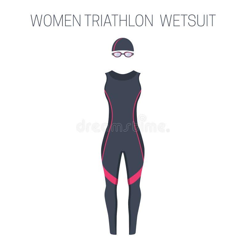 Triathlonfrauen ` s ärmelloser Wetsuit vektor abbildung