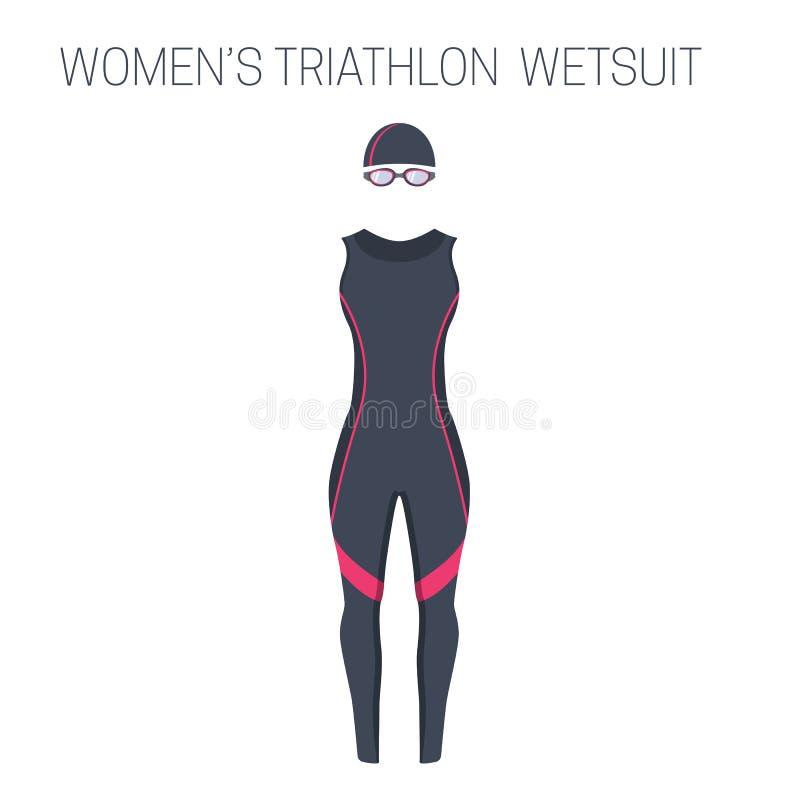 Triathlonfrauen ` s ärmelloser Wetsuit lizenzfreie abbildung