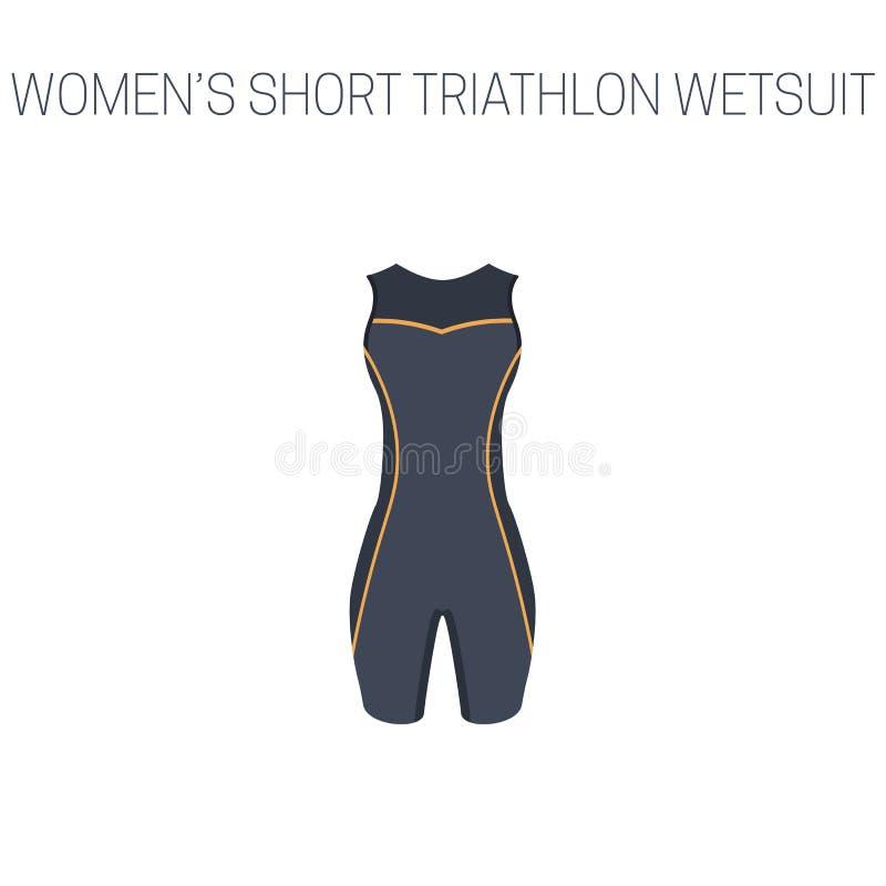 Triathlonfrauen ` s kurzer ärmelloser Wetsuit vektor abbildung