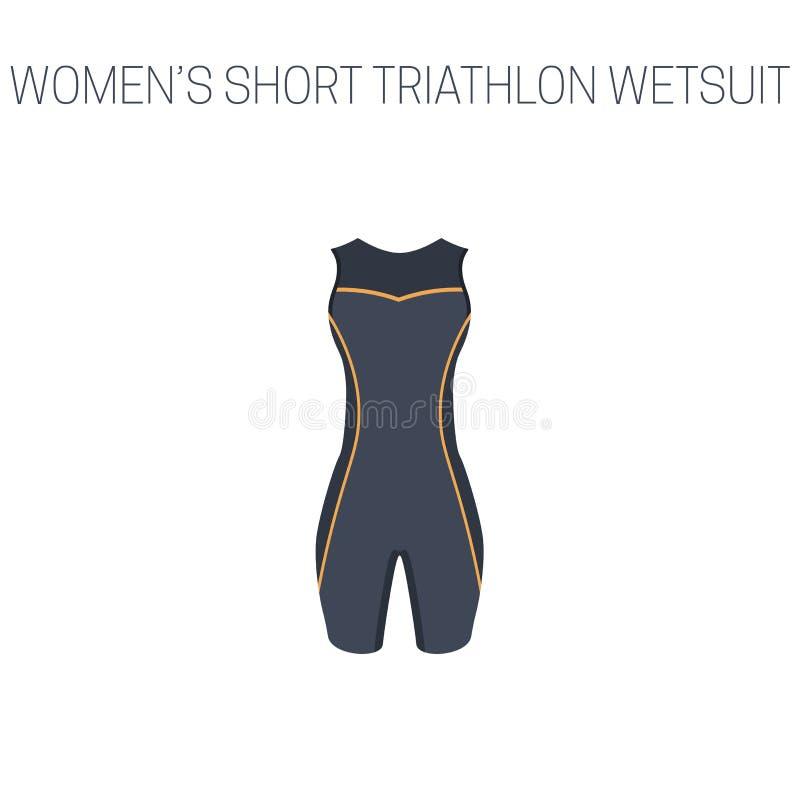 Triathlonfrauen ` s Kurzschluss Wetsuit vektor abbildung