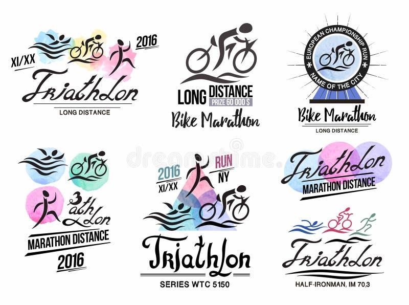 Triathlonlogo Trägt Logo mit Elementen der Kalligraphie zur Schau Fahrradmarathonlogo lizenzfreie abbildung