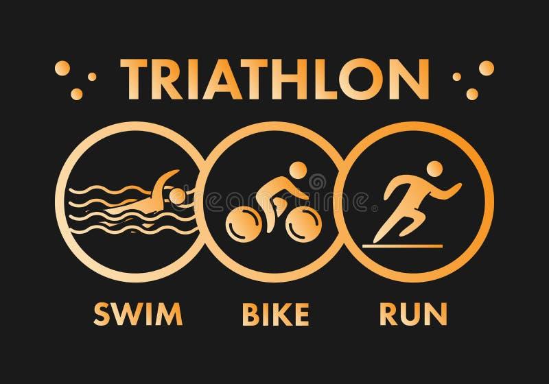 Triathlonlogo und -ikone Gold stellt triathlete dar lizenzfreie abbildung