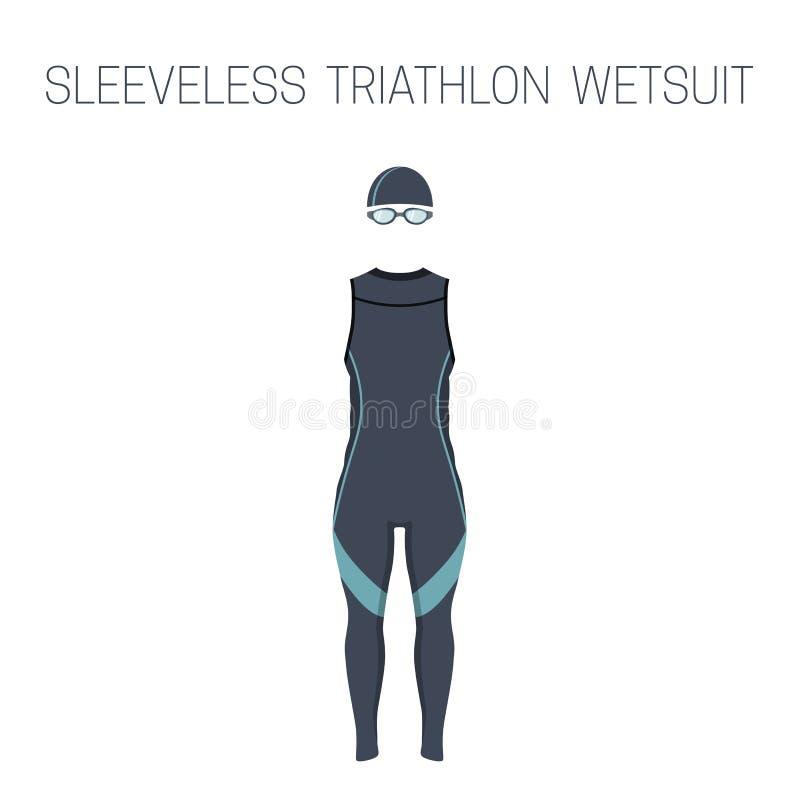 Triathlonmänner ` s ärmelloser Wetsuit stock abbildung