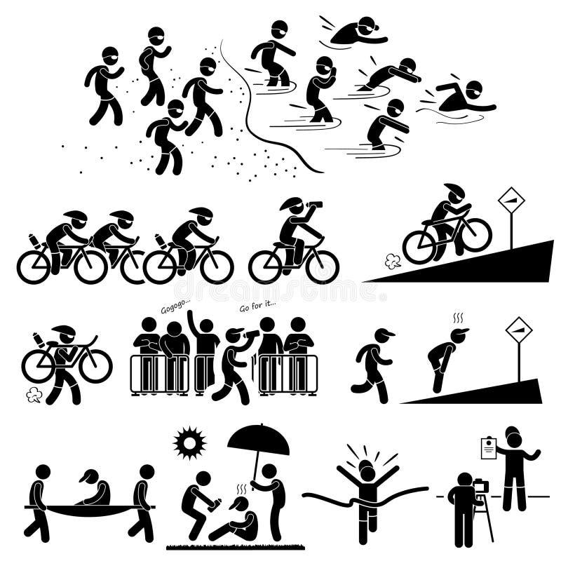 Triathlonmaratonsimning som cyklar att köra stock illustrationer