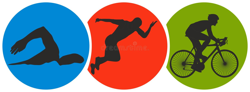 Triathlonsport stock illustrationer