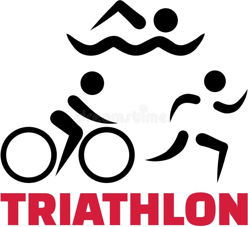 Triathlonsymbole mit Wort vektor abbildung