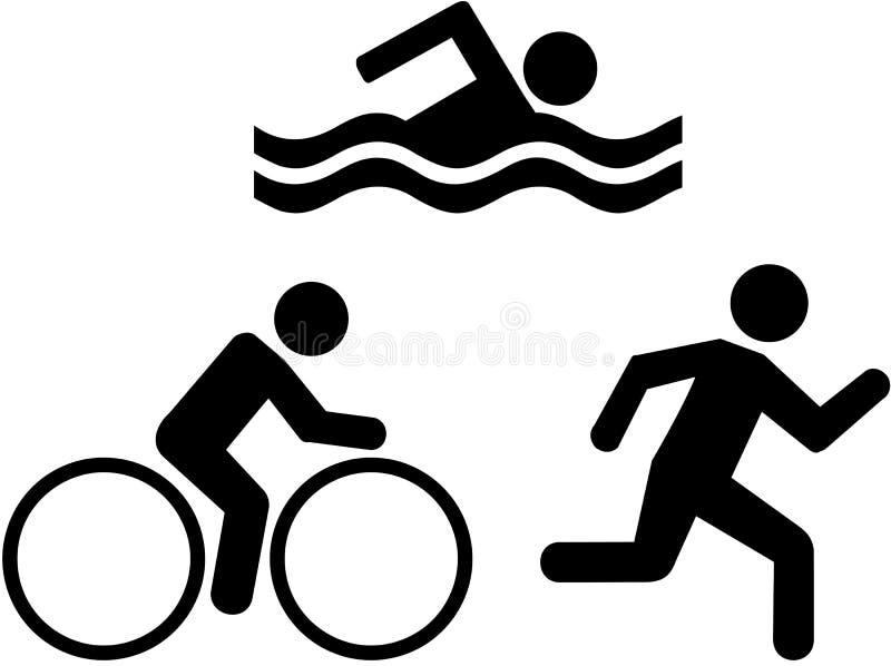 Triathlonsymboler vektor illustrationer
