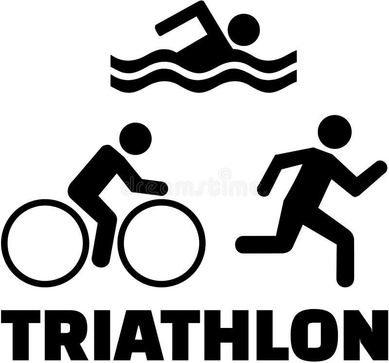Triathlonsymboler med ord vektor illustrationer