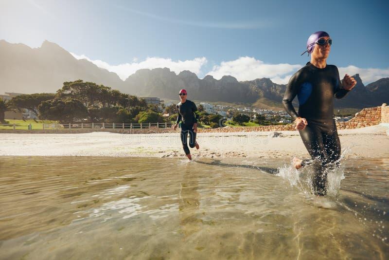 Triathlonteilnehmer, die in das Wasser laufen lizenzfreie stockfotos
