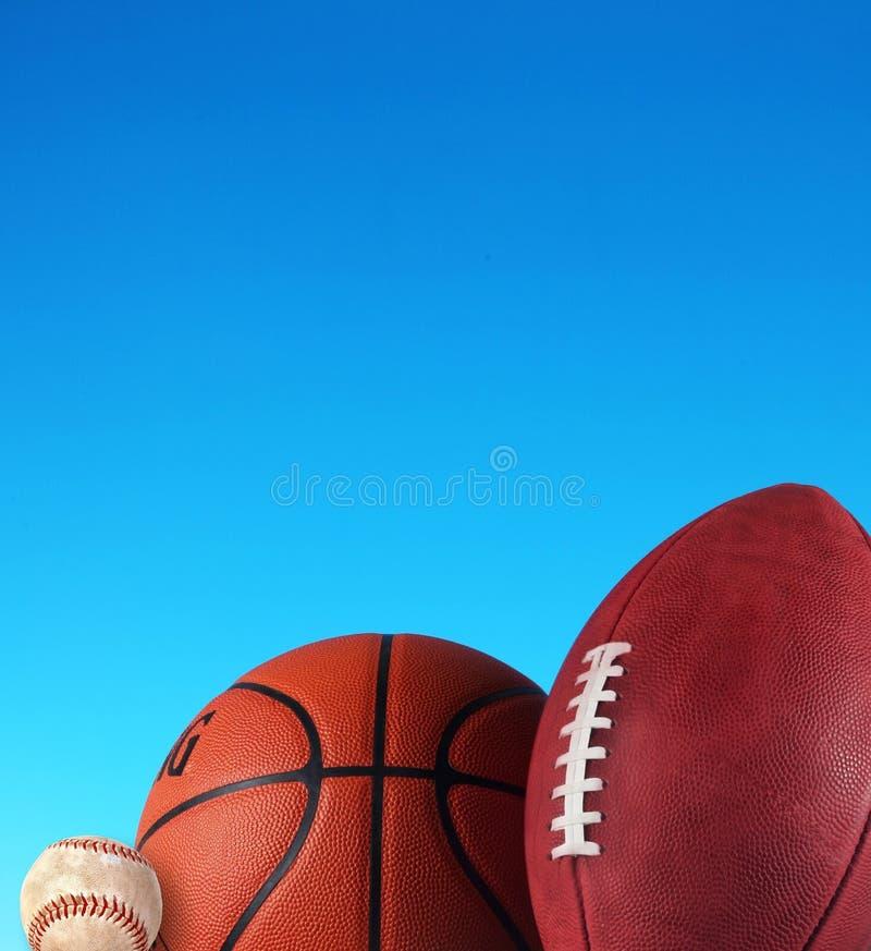 Triatholon, Drie Sporten, Honkbal, Basketbal, Voetbal, Winnin stock foto