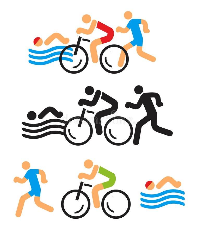 Triatlonpictogrammen vector illustratie
