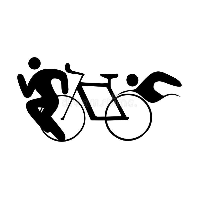 Triatlonpictogrammen De zomersport royalty-vrije illustratie