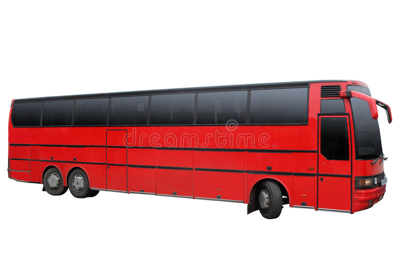 Triaxial röd buss royaltyfri fotografi