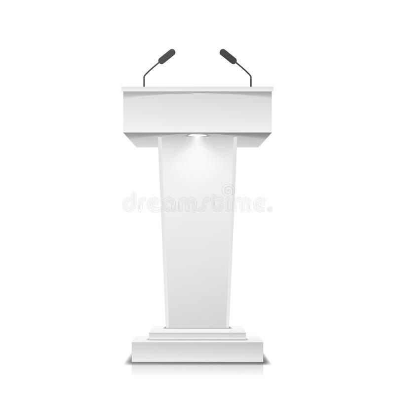 Tribüne lokalisierter Vektor Weißer sauberer Podium-Tribüne-Podiums-Stand Mit Mikrophonen Abbildung vektor abbildung