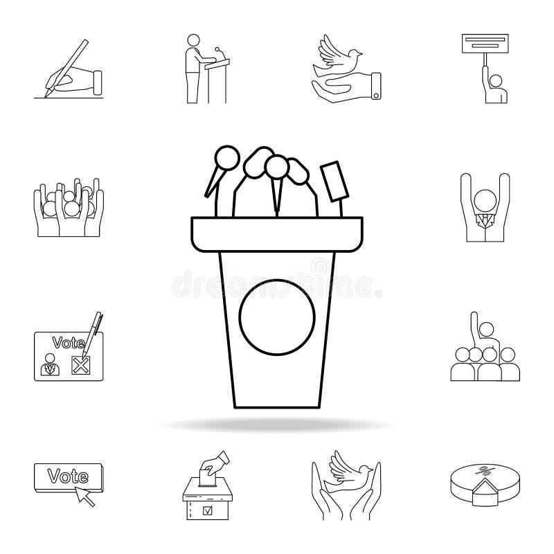 Tribüne mit Mikrofonikone Ausführlicher Entwurfssatz Wahlelementikonen Erstklassiges Grafikdesign Ein der Sammlung lizenzfreie abbildung