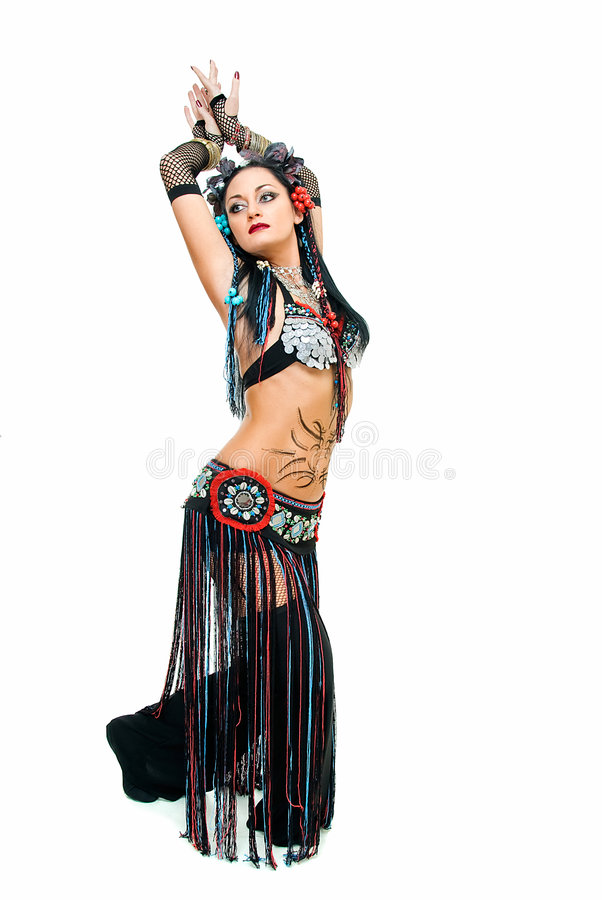 Tribal. Young beautiful tribal dancer woman on white royalty free stock images