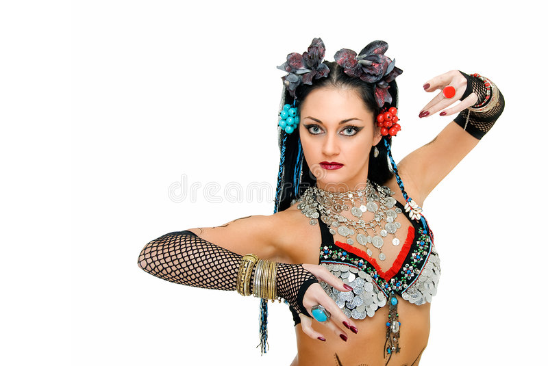 Tribal again. Charming beauty tribal dancer on white background stock photo