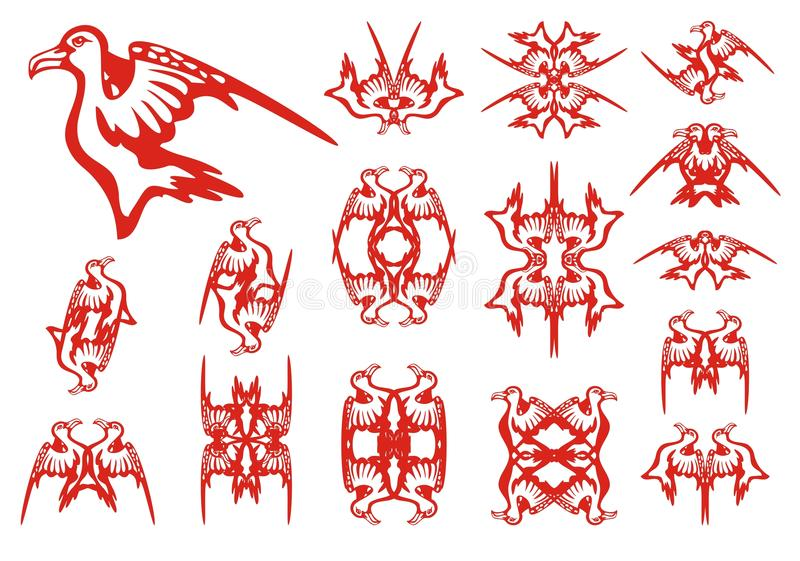 Tribal albatross set. Decorative patterns in the form of an albatross. Red on the white stock illustration