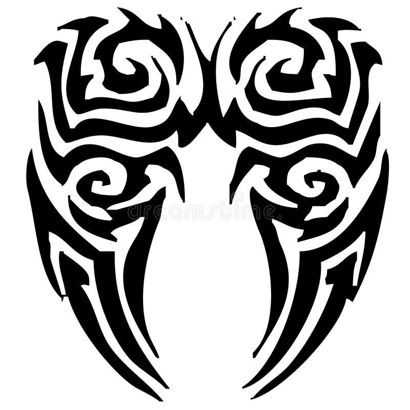Tribal Angel Wings Tattoo stock photo