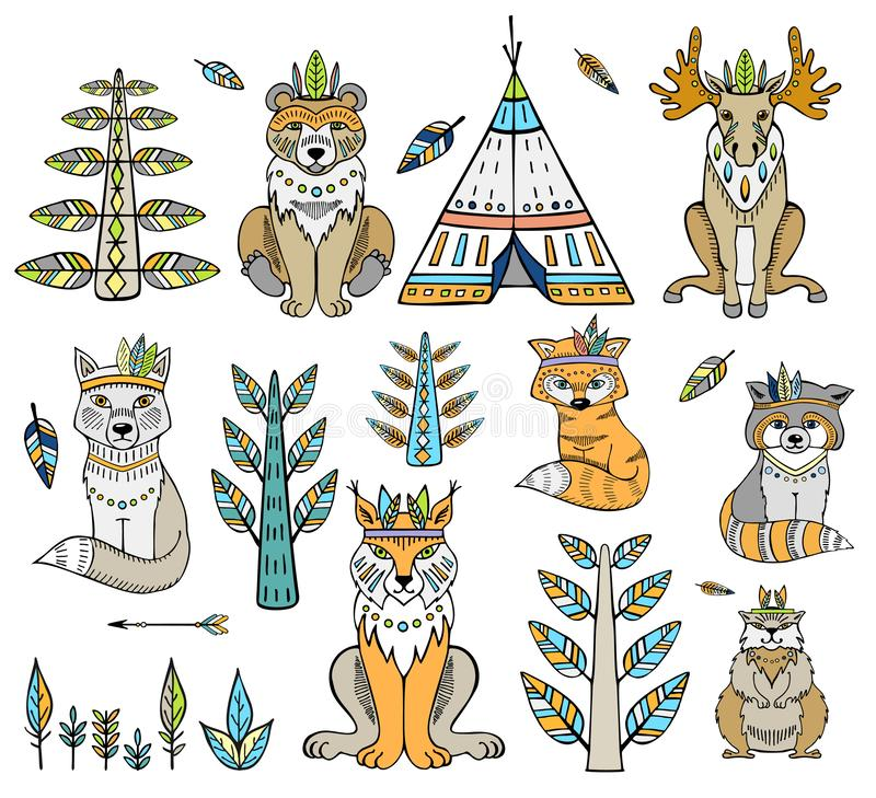 Tribal animal. Woodland forest animals collection including bear, lynx, badger, beaver and fox royalty free illustration