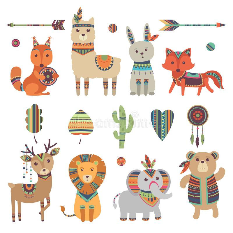Tribal animals. Cute zoo squirrel llama hare fox deer lion elephant and bear with vintage feathers ethnic patterns royalty free illustration