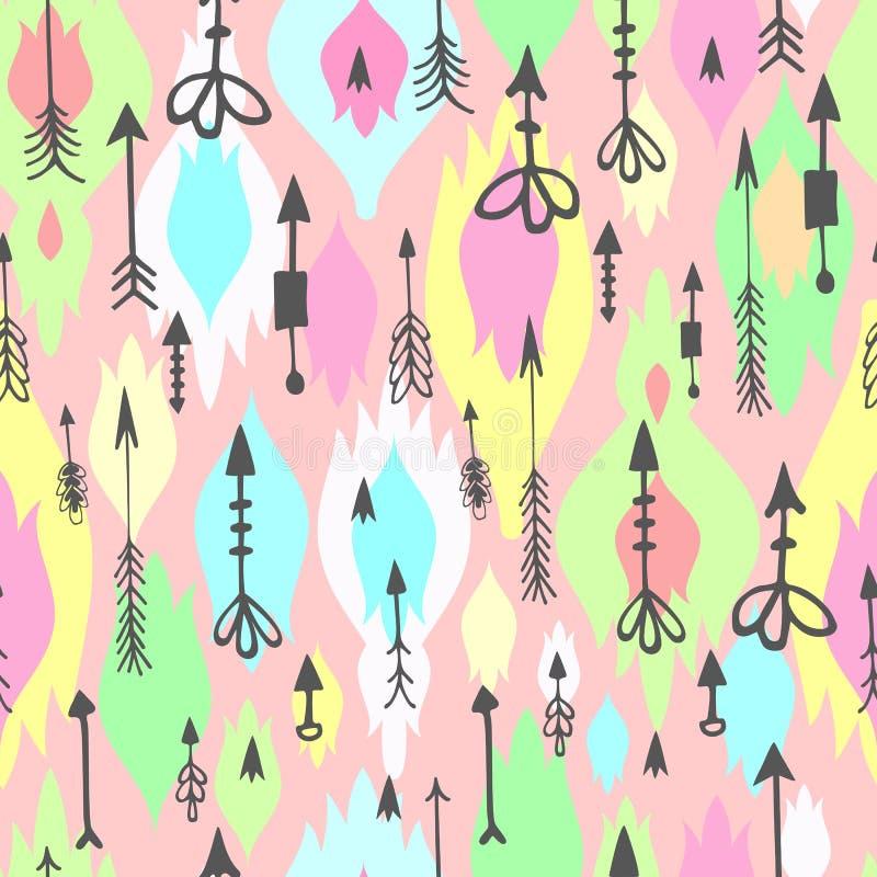 Tribal Arrows Boho Seamless Pattern Stock Vector