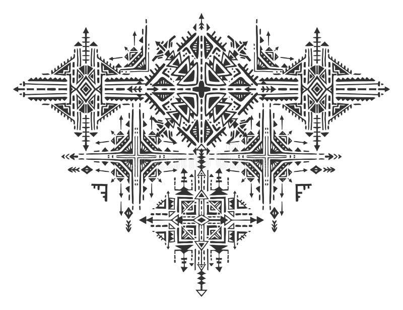 Download Tribal Art Boho Hand Drawn Geometric Pattern Stock Vector
