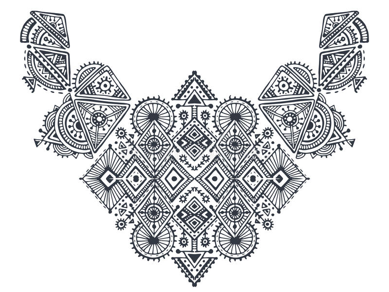 Tribal art boho hand drawn geometric pattern. royalty free illustration