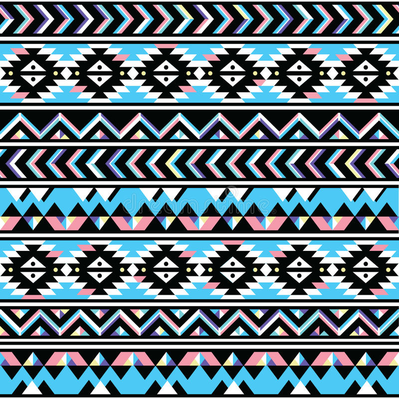 Tribal aztec seamless blue and pink pattern vector illustration