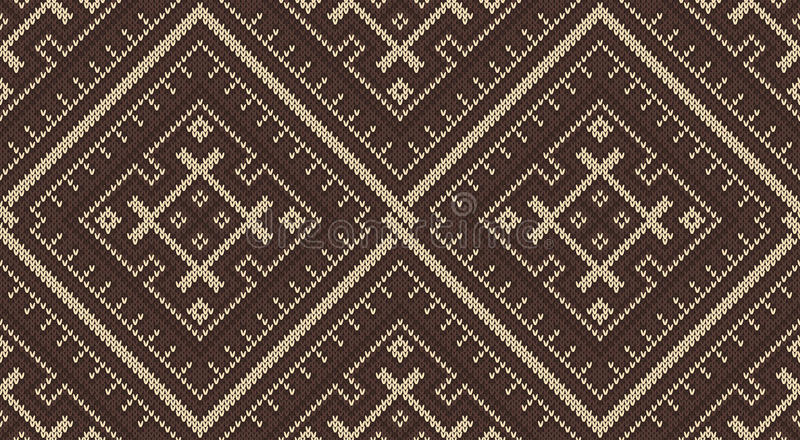 Tribal Aztec seamless pattern on the wool knitted texture vector illustration