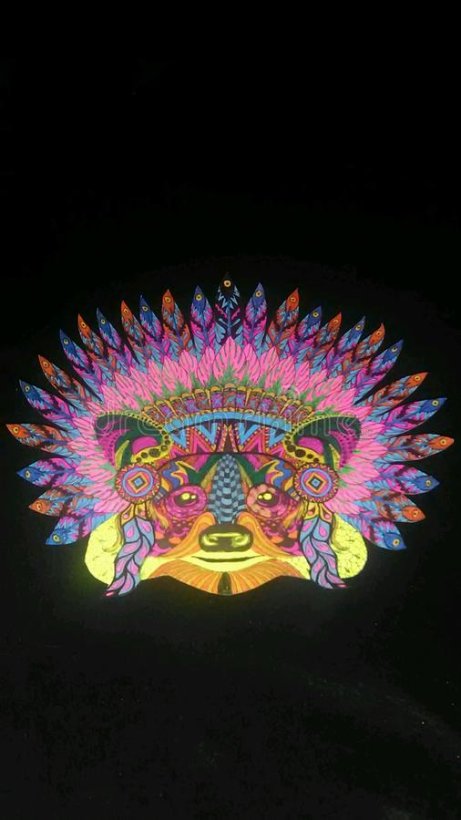 Tribal Bear Face. With geometric design and neon colors stock image