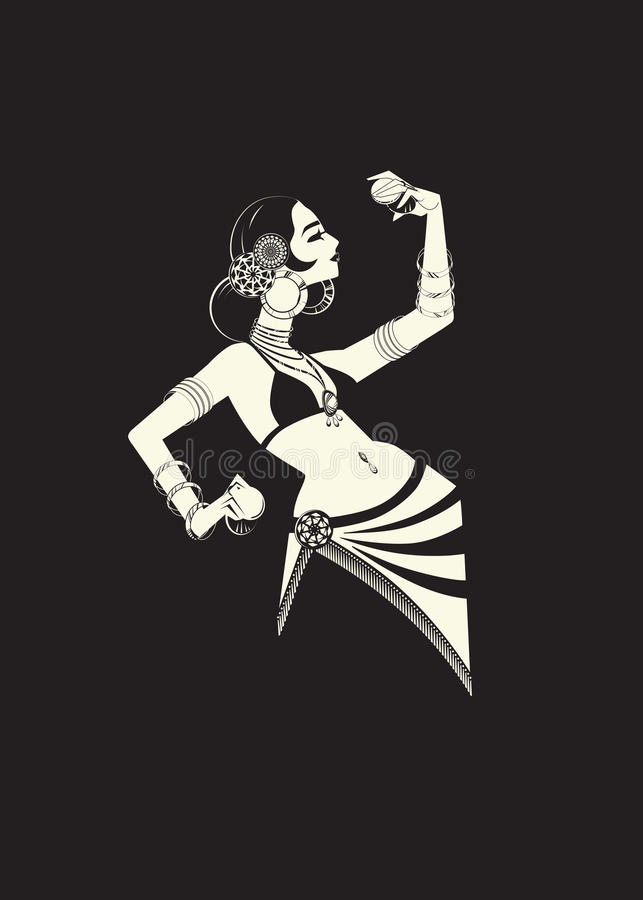 Tribal belly dancer with cymbals holding expressive impressive p royalty free illustration